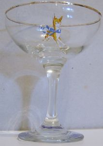 Babycham Original Glasses - Gold Bambi, Round Stem - BACK IN STOCK